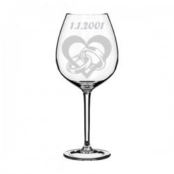 """Sklenička na víno """"srdce a prstýnky"""""""